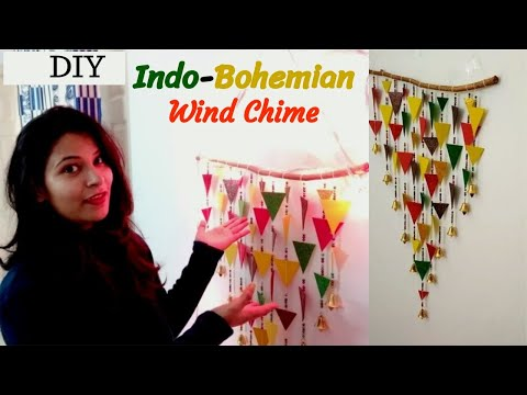 #diywalldecor #wallhanging How to create an Indo-Bohemian Wind Chime ||home decor ideas