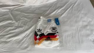 minejerseys cn 1990 West Germany Home Classic Retro Soccer Jersey Shirt unboxing review in SPANISH