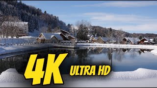 4K Snow Landscape Snowfall Gorgeous Peaceful Calming Relaxing Music ULTRA HD