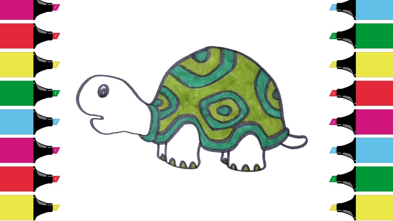 How to Draw Tortoise Coloring Pages | Kids Learn Drawing | Art ...