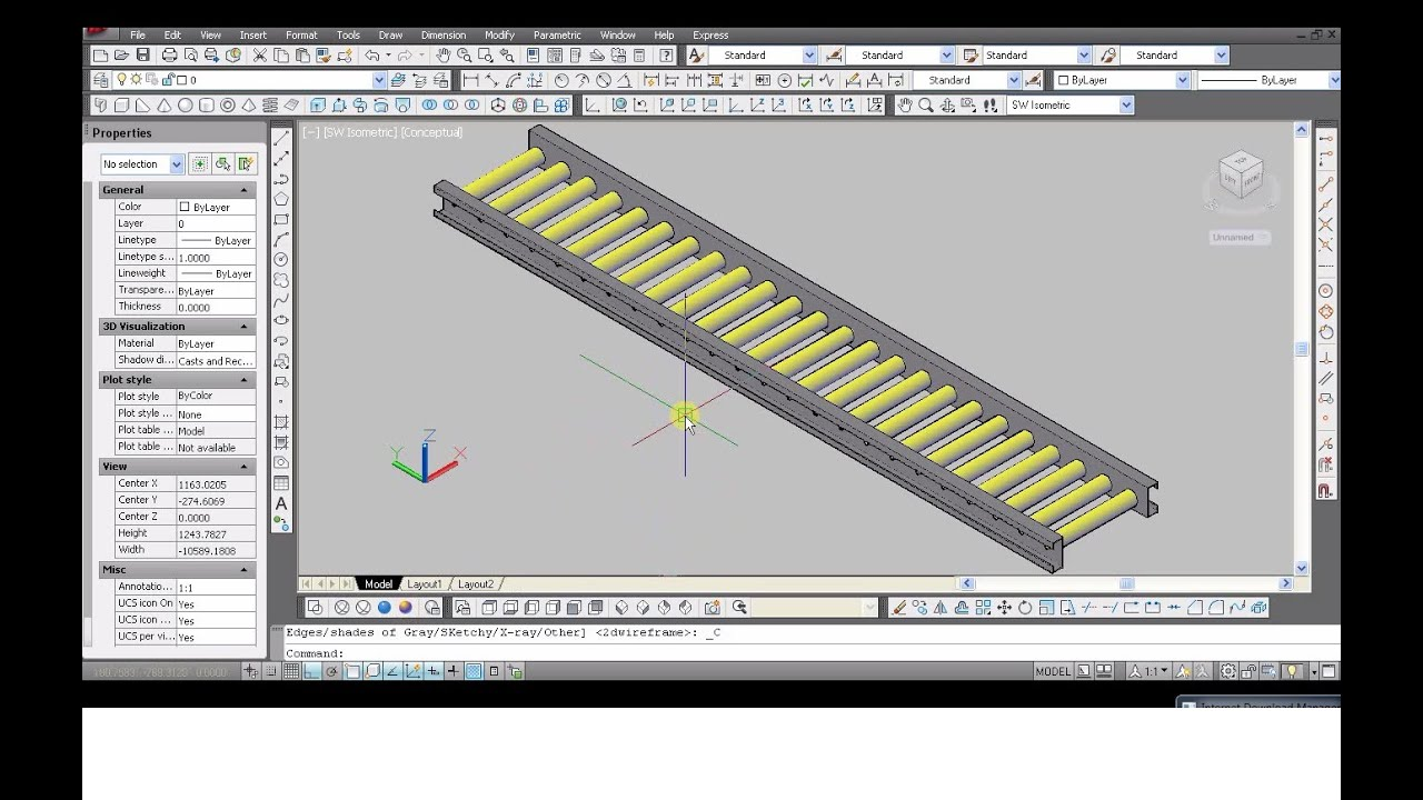 Autocad 2012 tutorial make frame conveyor 2d to 3d youtube for 2d blueprint maker