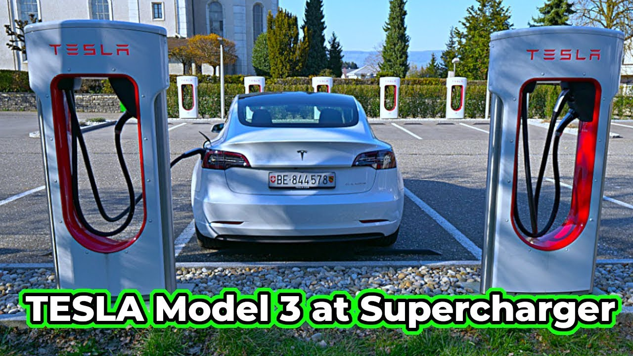 Charging TESLA Model 3 at Supercharger in Europe 2020 ...