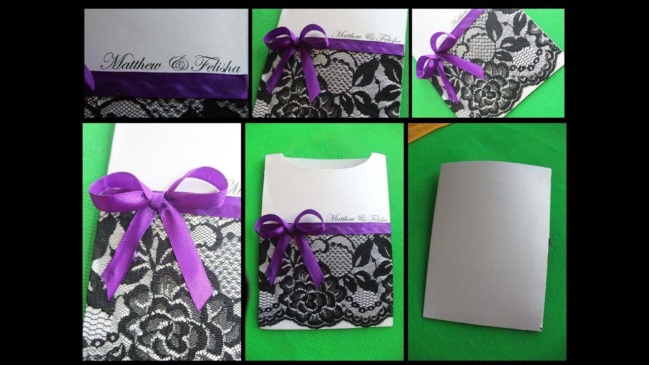 DIY : SIMPLE & ELEGANT WEDDING INVITATION POCKETS! - YouTube