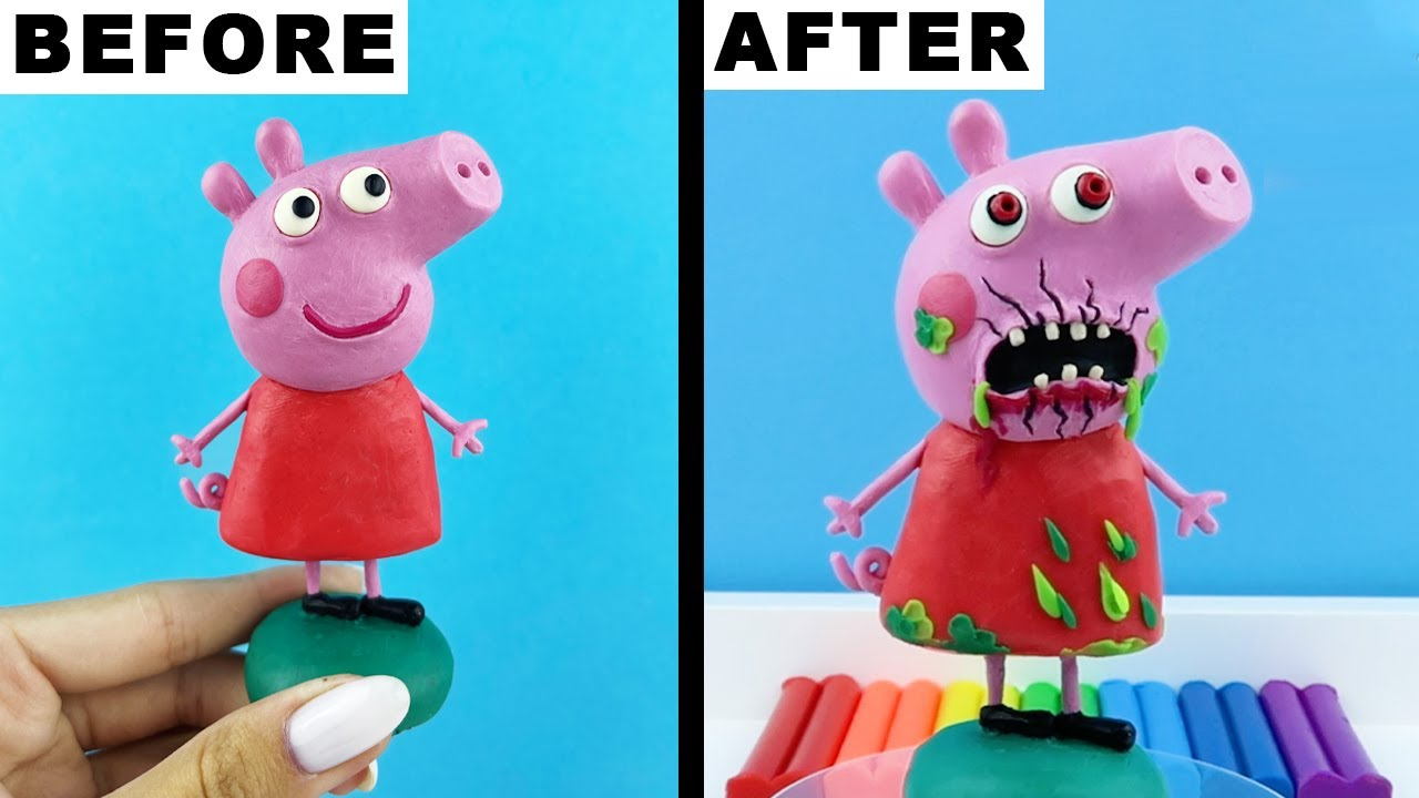 SCARY Peppa Pig EXE. How To Make Realistic made from polymer clay sculpture Tutorial sculpture video