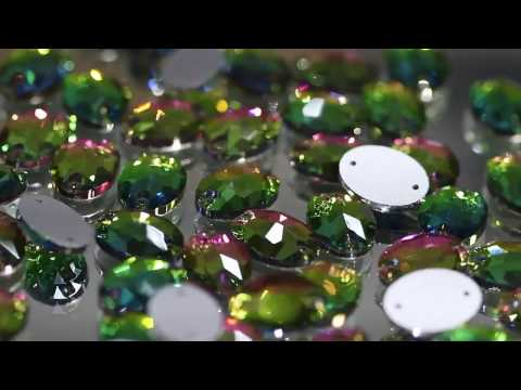 Oval De Cristal Para Coser Color Vitrail AB Strass Oval Sew-on