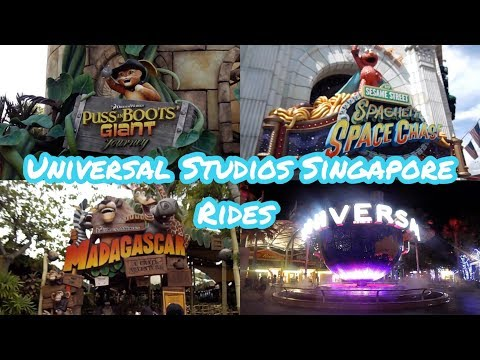Universal Studios Singapore Rides 2019 | Puss in Boots, Sphaghetti Space Chase, Madagascar