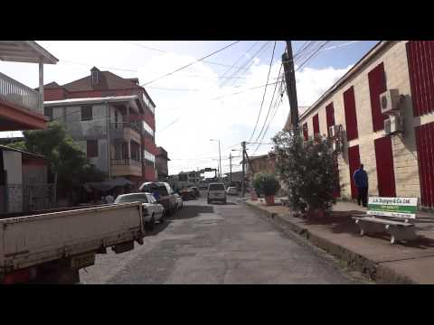 Dominica: Driving through downtown Roseau (capital of Dominica)
