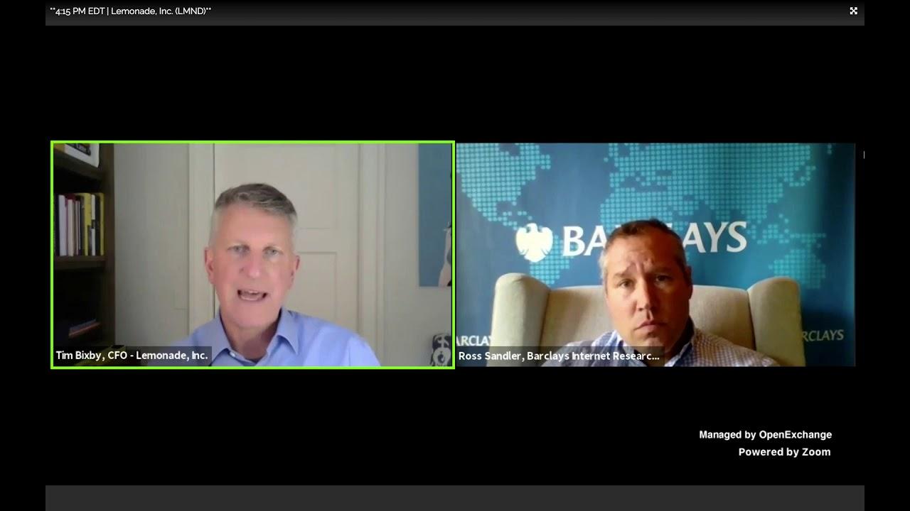 Lemonade Insurance (LMND) Tim Bixby, CFO interview at Barclays