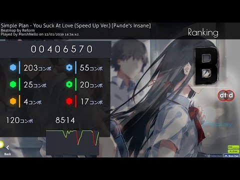 Osu! ~ You Suck At Love (Speed Up Ver.) [P4nde's Insane] +HDDT (6.48*) PASS