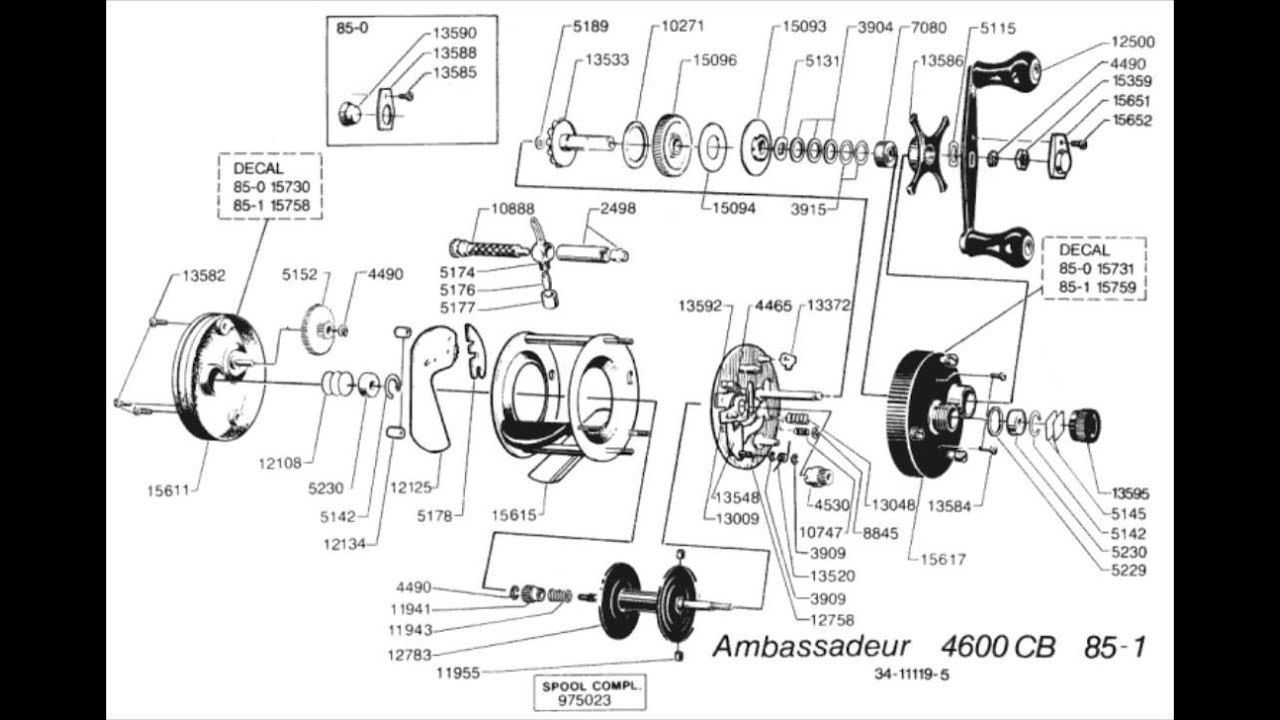 AMBASSADEUR 4600CB. despiece. Reel catalog parts 85-1