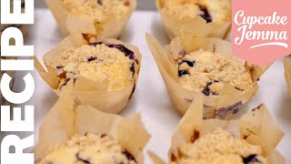 Quick & Easy BLUEBERRY MUFFINS With Crunchy Streusel Topping! | Cupcake Jemma