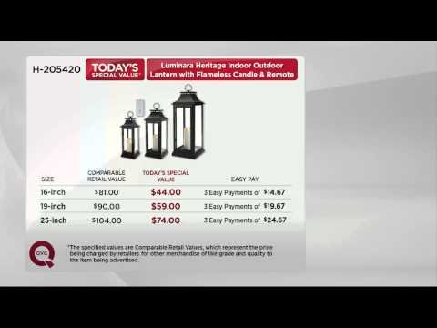 "Luminara 25"" Heritage Indoor Outdoor Lantern with Flameless Candle & Remote with Dan Hughes"