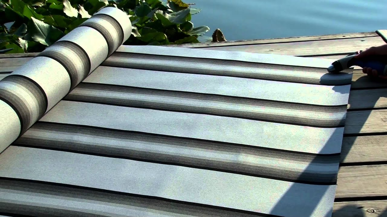 Video Of Sunbrella Grey Black White Stripe Awning Fabric 4799 0000