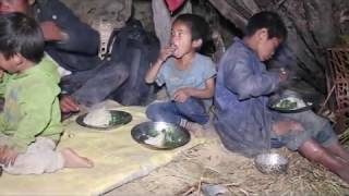 Preparing food of green leaves of nettle which main food of  people
