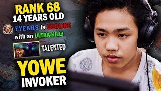 GENIUS 14 YEARS OLD YOWE RANK 68 CHINA SERVER SHOWS WHAT HE CAN DO WITH INVOKER - DOTA 2 INVOKER