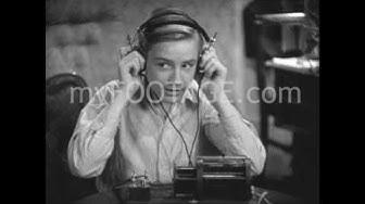 1950s Boy on Radio Headphones