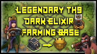 LEGENDARY TH9 DARK ELIXIR FARMING/TROPHY BASE 2017! MAX OUT YOUR HEROS! - Clash Of Clans Base Build