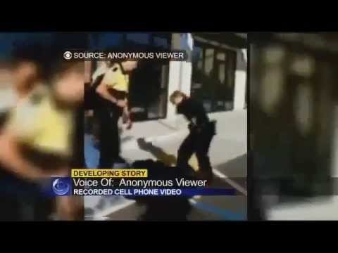 Police Brutality: California Female Cop KILLing black man With Bato - raw video