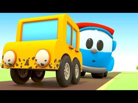 Çizgi Film. Leo Ve Çekici Sarı Arabaya Yardım Ediyor!