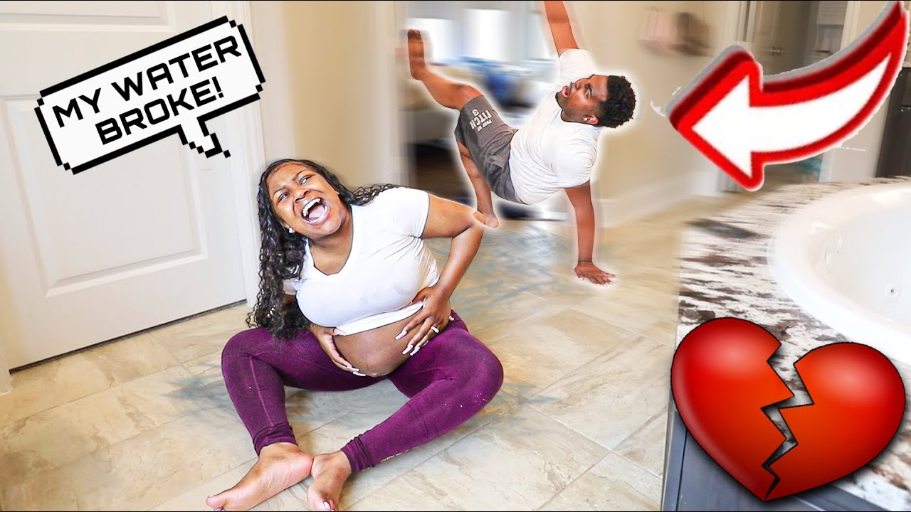 MY WATER BROKE PRANK ON HUSBAND!!! **MUST WATCH HIS REACTION**