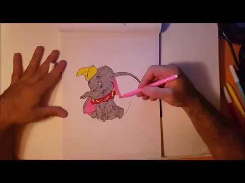 Come Disegnare Dumbo Da Colorare Per Bambini Impara Colori Youtube