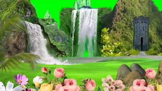 Waterfall Background green Screen 2018