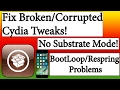 How to Fix Corrupted Cydia Tweaks With No Substrate Mode! Yalu Jailbreak iOS 10.0-10.2!