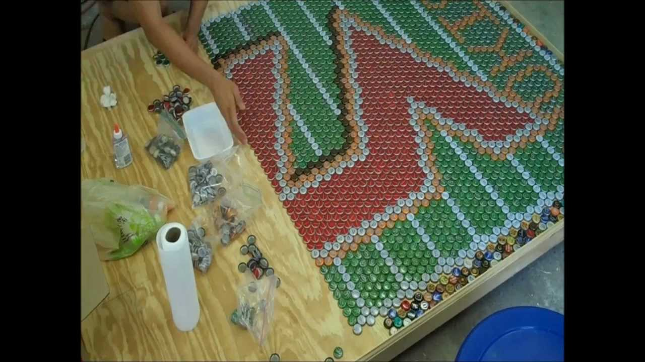 Virginia tech beer cap table time lapse youtube for How to make a table out of bottle caps