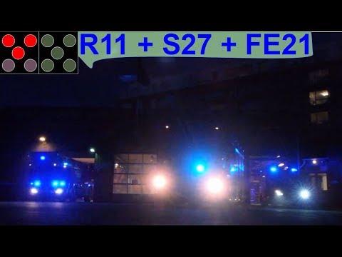 hovedstadens beredskab ST.C TLF R11 + DLK S27 + VRW FE21 brandbil i udrykning feuerwehr einsatzfahrt