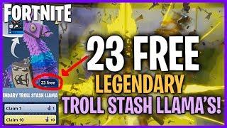 Opening 23 FREE Legendary Troll Stash Llamas! 50+ legendary Items! #Fortnite