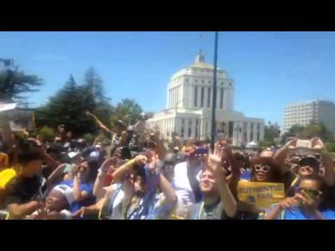 Warriors Party With Fans At Warriors Rally Oakland