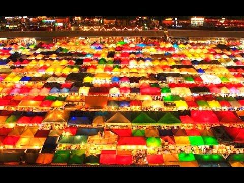 Ratchada Train Night Market & Streed Food - Bangkok, Thailand 2017