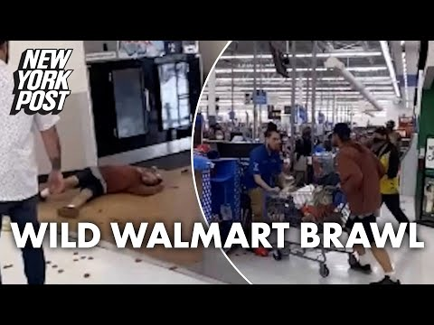 Wild Walmart brawl breaks out after shopper apparently spits on employee | New York Post