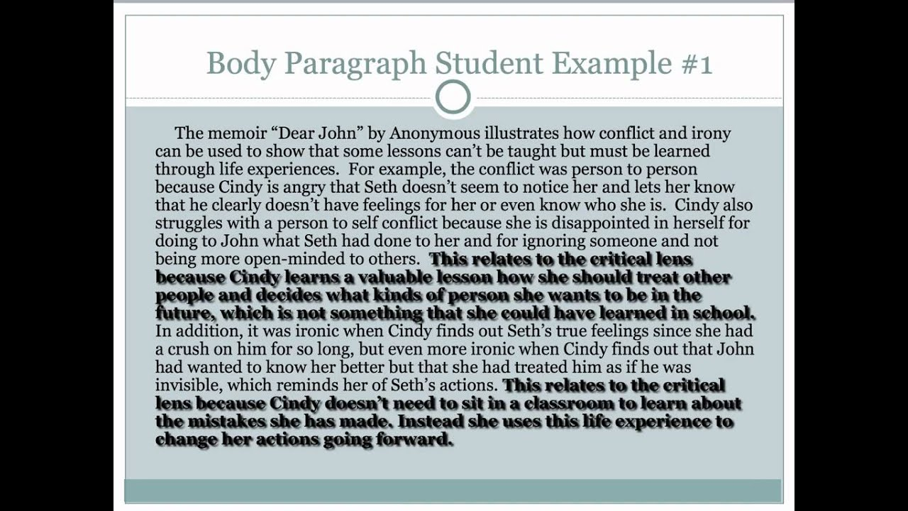 body of an essay example
