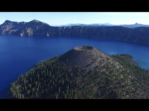 DRONE flight over CRATER LAKE/Wizard Island, OREGON