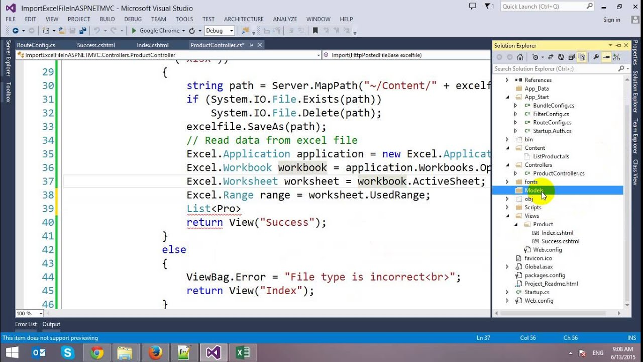 Import Excel Data to ASP NET MVC
