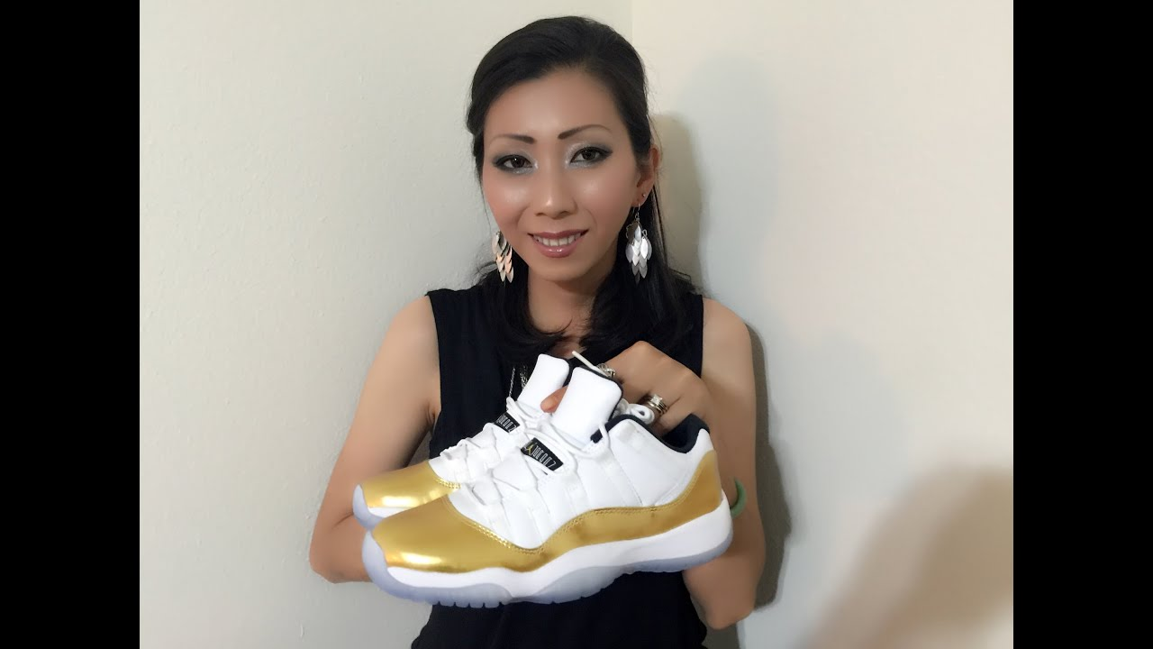 393f195d4c3 Wife's Jordan Retro 11 Low Gold Olympic Closing Ceremony unbox and on feet  review