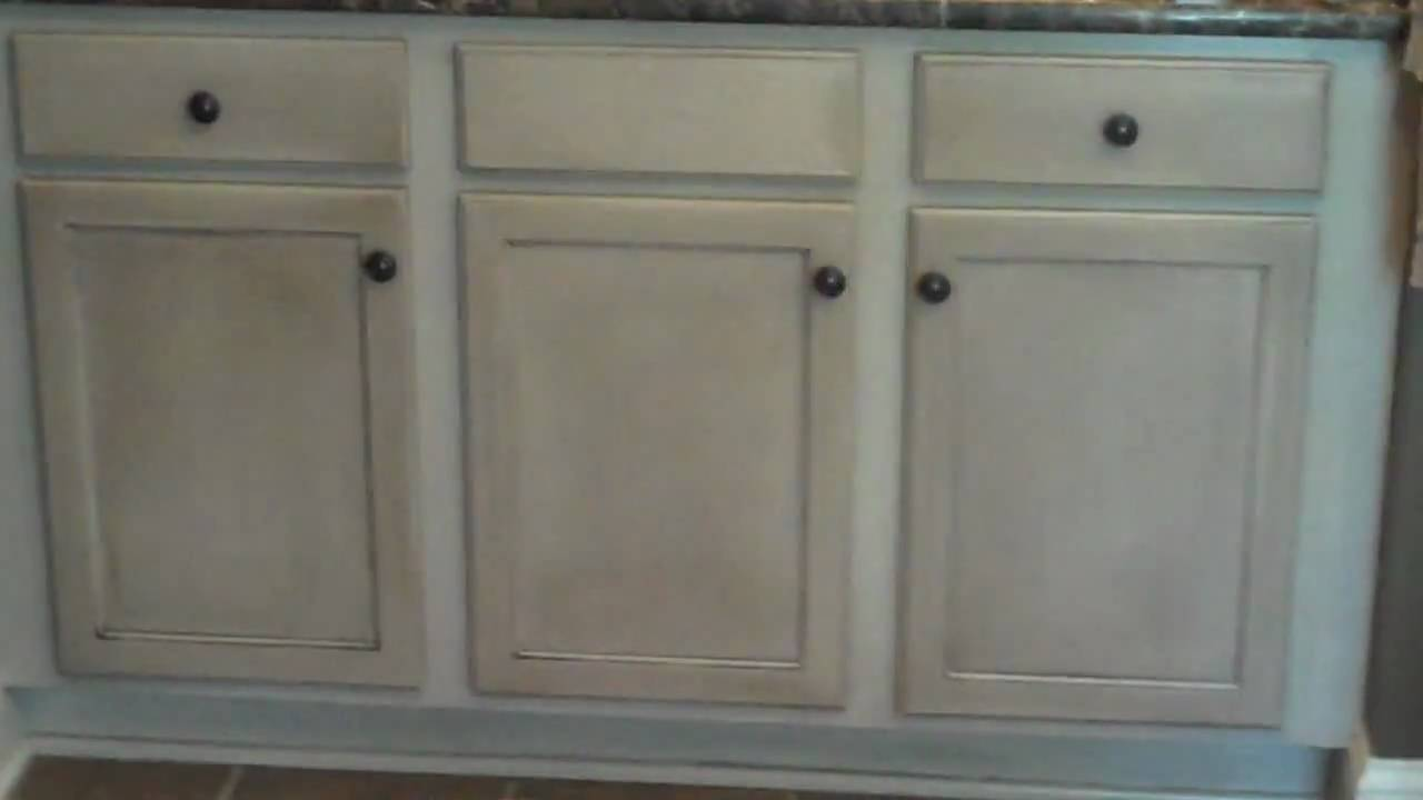 current cabinet refinishing project bathroom vanity - after video