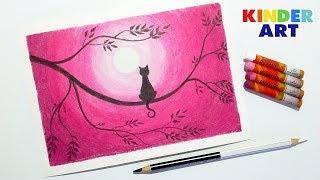 Кошка на ветке. Рисунок масляной пастелью поэтапно для детей и начинающих