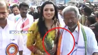 Swetha Menon molested by a Politician while sharing dais
