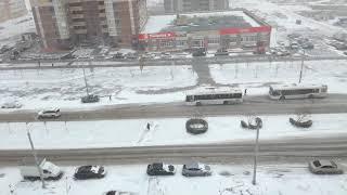 Метель в Ростове-на-Дону. Исчезла автобусная остановка
