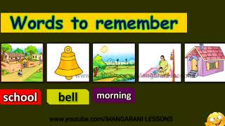 1st class english video lesson, my school reading activity, page number 20, words to remember,