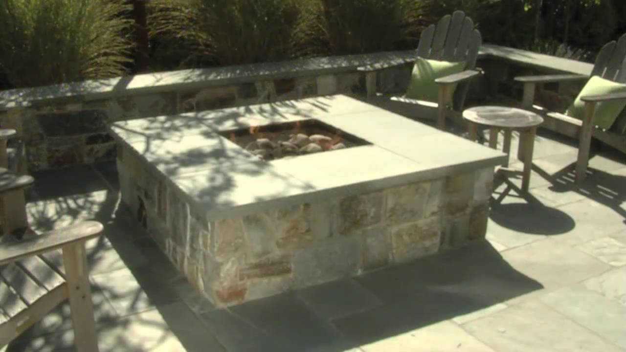 Bluestone Fire Pit & Seat Walls - YouTube