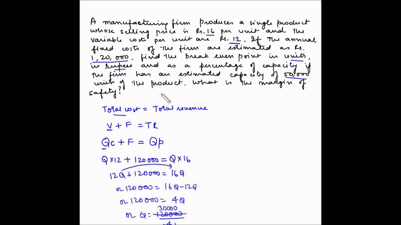 Cost Volume Profit analysis - Example 1 - Break even analysis