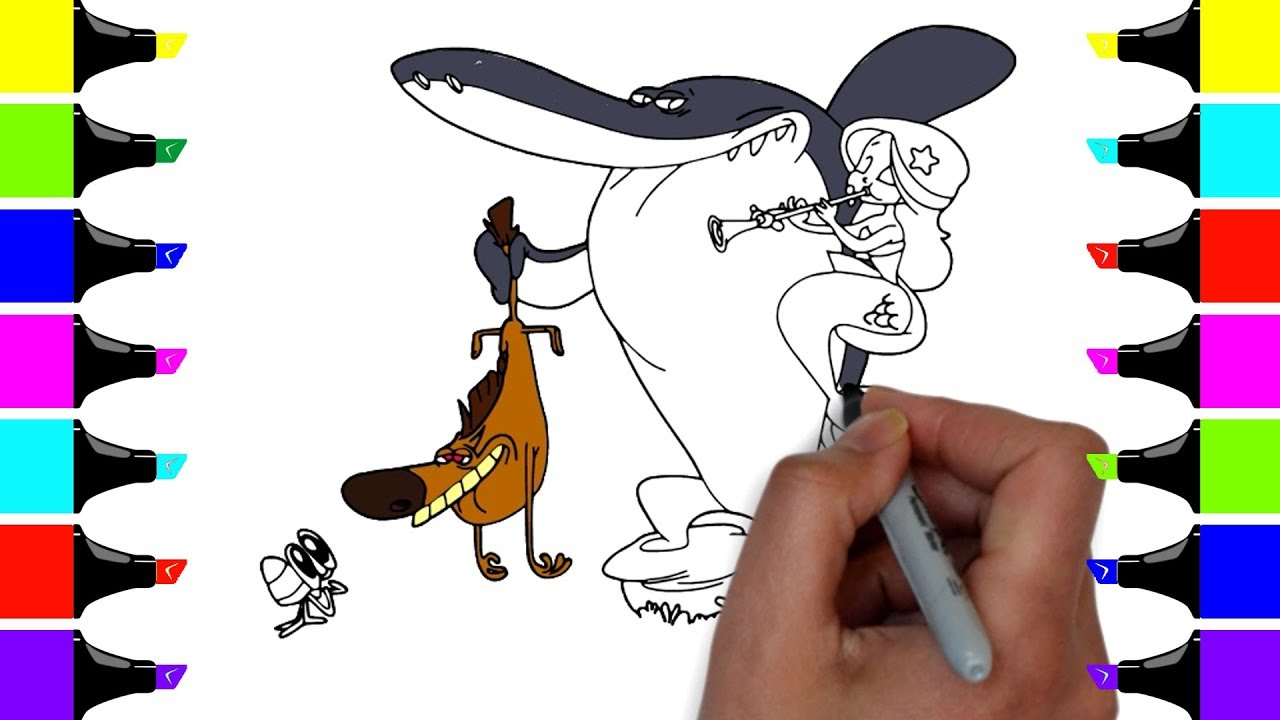 How to Draw Zig Sharko Marina Bernie - Zig and Sharko Coloring Pages ...