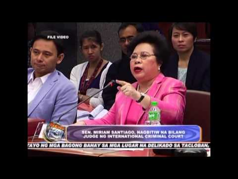 Sen. Miriam Santiago, resigned as International Criminal Court Judge