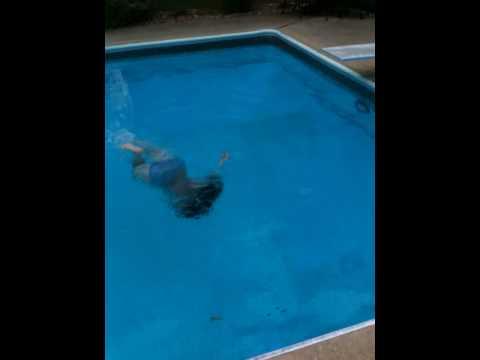 Girl cannot swim in deep water.  Funny!