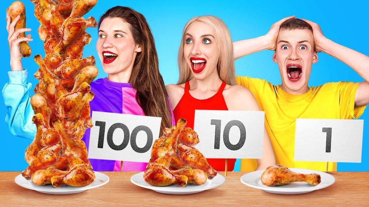 BIG VS MEDIUM VS SMALL FOOD CHALLENGE || Last To Stop Wins! Giant VS Tiny Food by 123 GO! CHALLENGE