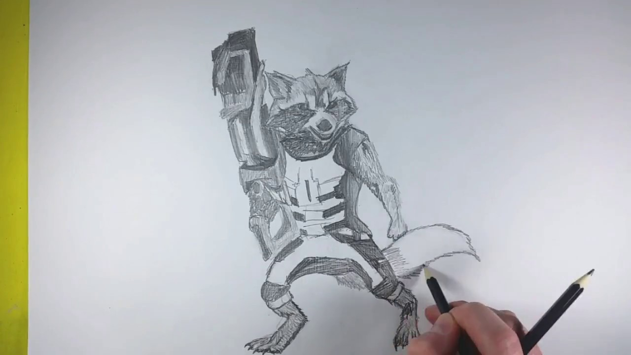 Drawing Rocket From Guardians Of The Galaxy Easy How To Sketch