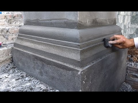 Amazing Construction Rendering Sand & Cement To The Foot Of The Latest Concrete Column